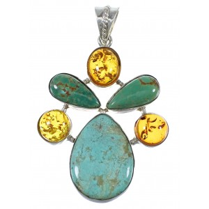 Turquoise And Amber Southwest Genuine Sterling Silver Jewelry Pendant QX74168