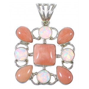 Silver Pink Coral And Opal Pendant YX77123