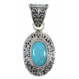 Turquoise Authentic Sterling Silver Southwestern Pendant AX78387