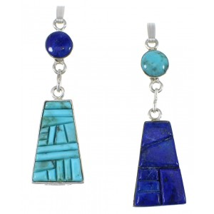 Turquoise And Lapis Reversible Sterling Silver Pendant AX78520