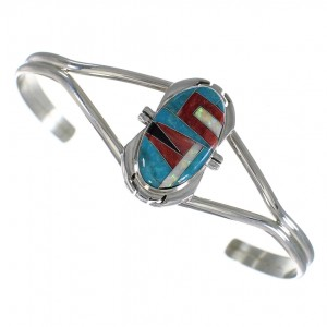Southwest Multicolor Inlay And Sterling Silver Cuff Bracelet WX75394