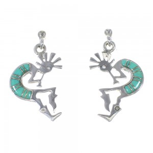 Sterling Silver Turquoise Inlay Kokopelli Post Dangle Earrings UX75907