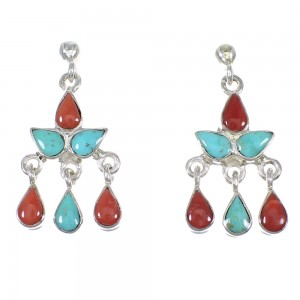 Southwest Silver Turquoise And Coral Post Dangle Earrings QX75323