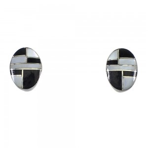 Jet And Mother Of Pearl Southwest Silver Post Earrings QX75461