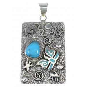 Sterling Silver Turquoise Butterfly Hand Pendant YX75386