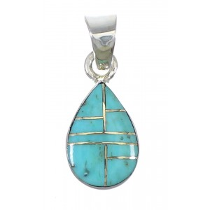 Sterling Silver Turquoise Tear Drop Southwestern Pendant YX75422