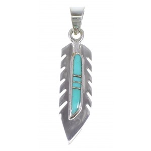 Southwestern Turquoise Feather Sterling Silver Pendant QX76970
