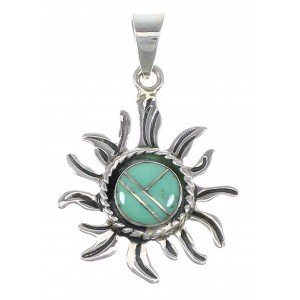 Sterling Silver Southwestern Turquoise Inlay Sun Pendant QX77093