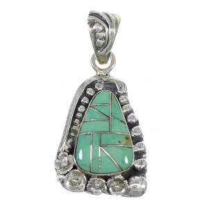 Flower Turquoise Inlay Silver Southwestern Pendant QX77108
