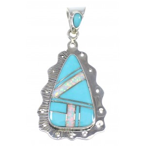 Southwest Turquoise Opal Sterling Silver Pendant AX76493