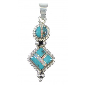 Silver Turquoise Opal Inlay Southwest Pendant AX76555