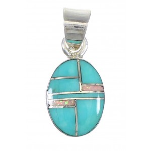 Sterling Silver Turquoise Opal Southwestern Jewelry Pendant AX76564