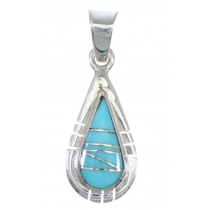 Silver Southwestern Turquoise Inlay Tear Drop Pendant QX77361