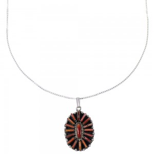 "Southwestern Red Oyster Shell Needlepoint Pendant And 20"" Silver Box Chain Necklace WX75974"