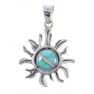 Sterling Silver Turquoise And Opal Southwestern Sun Pendant UX75589