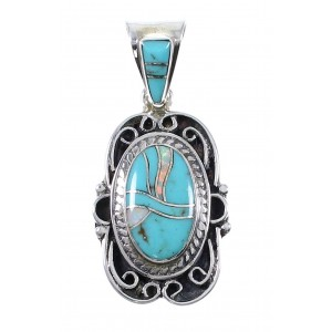 Southwest Sterling Silver Turquoise And Opal Inlay Pendant UX75655