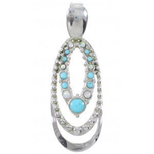 Sterling Silver Southwestern Turquoise And Opal Pendant UX75666
