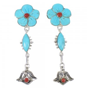 Turquoise And Coral Sterling Silver Flower Southwestern Post Dangle Earrings WX76272