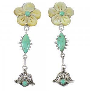 Turquoise And Yellow Mother Of Pearl Flower Silver Southwest Post Dangle Earrings WX76327