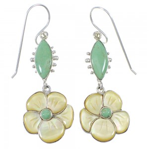 Southwest Yellow Mother Of Pearl And Turquoise Flower Silver Hook Dangle Earrings WX76377