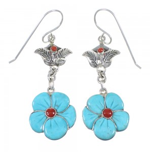 Sterling Silver Turquoise And Coral Flower Southwest Hook Dangle Earrings WX76391