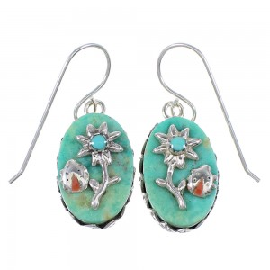 Turquoise Coral Sterling Silver Flower And Lady Bug Southwest Hook Dangle Earrings WX76573