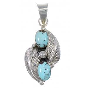 Silver Turquoise Leaf Pendant YX77473