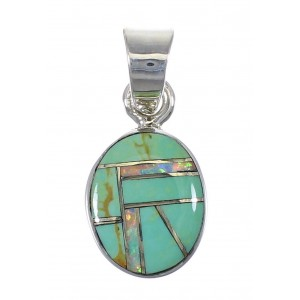 Opal Turquoise Genuine Sterling Silver Pendant YX75994