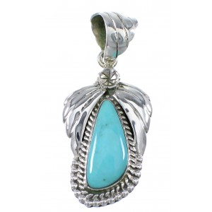 Southwestern Sterling Silver And Turquoise Flower Pendant AX77008