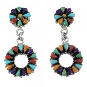 Southwestern Sterling Silver Multicolor Needlepoint Post Dangle Earrings QX76638