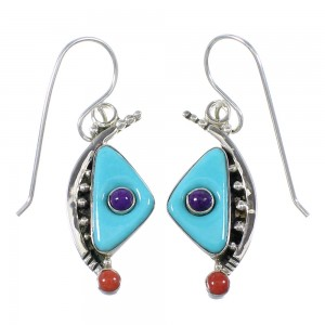 Turquoise Coral Southwest Sterling Silver Hook Dangle Earrings QX76773