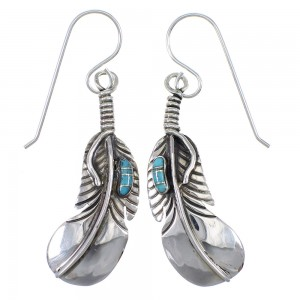 Turquoise Inlay Feather Silver Southwest Hook Dangle Earrings QX76552