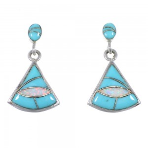 Turquoise Opal Inlay Southwest Genuine Sterling Silver Post Dangle Earrings QX76324