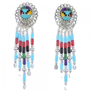 Multicolor Heishi Bead Silver Concho Clip On Earrings AX76852