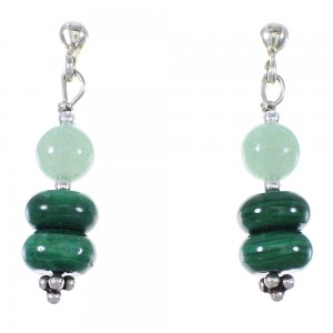 Navajo Indian Malachite Aventurine Bead Silver Post Dangle Earrings YX76749