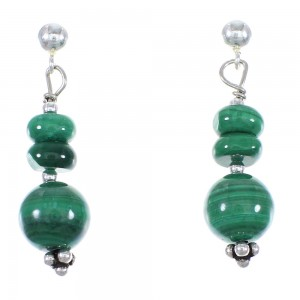 Navajo Indian Malachite Bead Silver Post Dangle Earrings YX76767