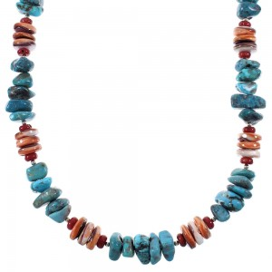 American Indian Multicolor Sterling Silver Bead Necklace WX76982
