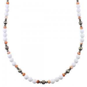White Agate And Oyster Shell Navajo Old Pawn Vintage Style Sterling Silver Bead Necklace WX76999