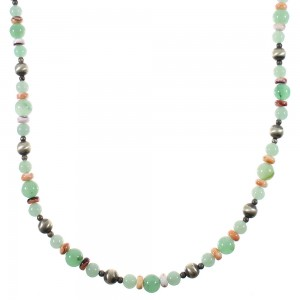 Aventurine And Oyster Shell Old Pawn Navajo Vintage Style Sterling Silver Bead Necklace WX77006