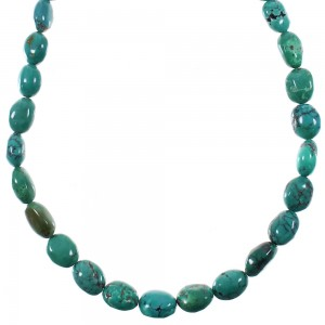 Southwestern Genuine Sterling Silver And Turquoise Bead Necklace WX76848