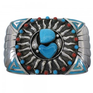 Silver Southwest Turquoise Coral Sun Heart Belt Buckle YX77087