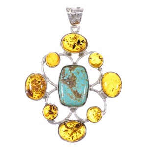 Southwestern Silver #8 Turquoise Amber Pendant YX77222