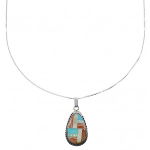 "Southwestern Multicolor Sterling Silver Pendant 16"" Box Chain Necklace WX78155"
