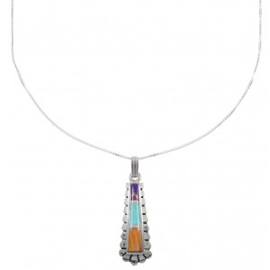 "Southwestern Multicolor Inlay Sterling Silver Pendant 16"" Box Chain Necklace WX78196"