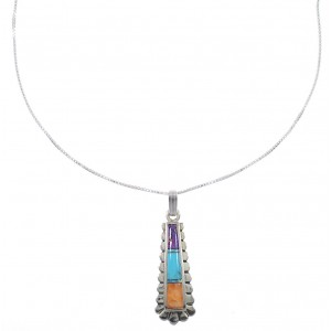 "Southwest Sterling Silver Multicolor Inlay Pendant 16"" Box Chain Necklace WX78203"