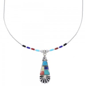 Multicolor Inlay And Liquid Genuine Sterling Silver Bead Necklace WX78308