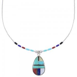 Liquid Genuine Sterling Silver And Multicolor Inlay Bead Necklace WX78312