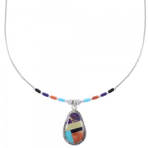 Liquid Silver And Multicolor Inlay Bead Necklace WX78318