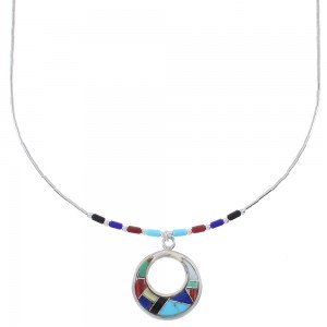 Multicolor Inlay And Liquid Silver Bead Necklace WX78323