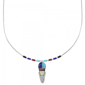 Multicolor Inlay And Liquid Sterling Silver Necklace WX78399